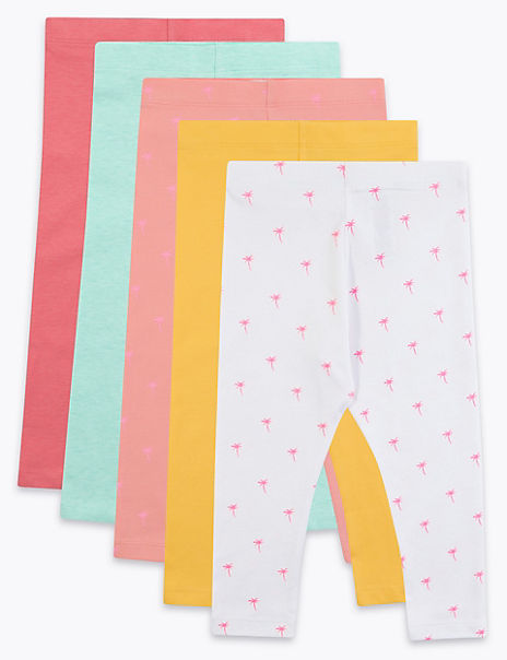5 Pack Cotton Rich Leggings (2-7 Years)