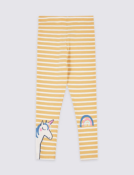 Unicorn and Rainbow Decal Striped Leggings (3 Months - 7 Years)