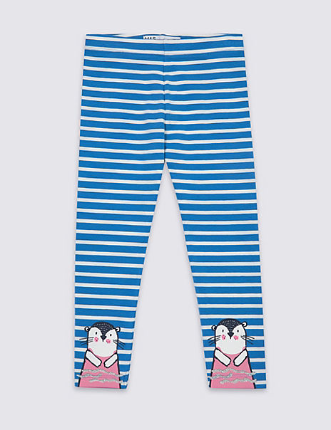 Otter Decal Striped Leggings (3 Months - 7 Years)