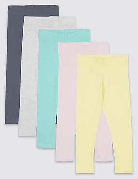 5 Pack Cotton Rich Leggings with Stretch (3 Months - 7 Years)