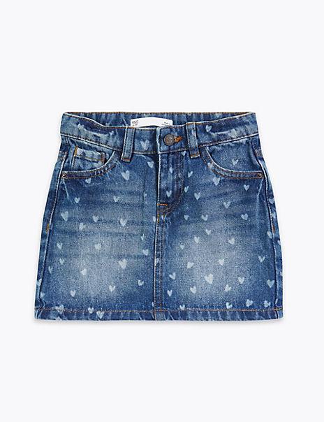Denim Laser Heart Skirt (2-7 Years)