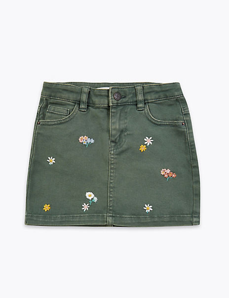 Denim Floral Embroidered Skirt (2-7 Years)