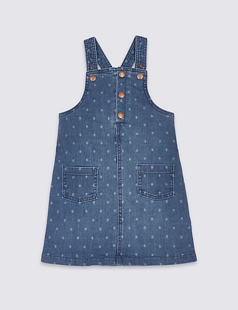 Denim All Over Spot Print Pinafore (3 Months - 7 Years)