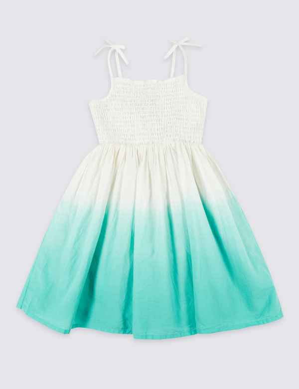 437c551ae63 Pure Cotton Shirring Dress (3 Months - 7 Years)
