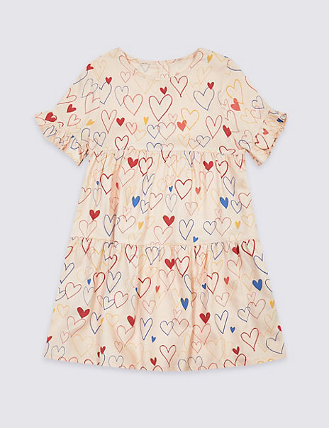 Heart Print Tiered Dress (3 Months - 7 Years)