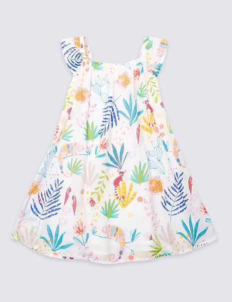 Pure Cotton All Over Print Dress (3 Months - 7 Years)