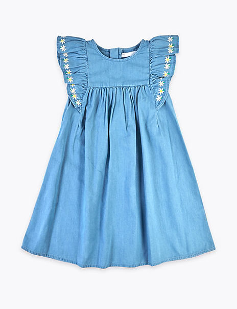 Chambray Embroidered Dress (2-7 Years)