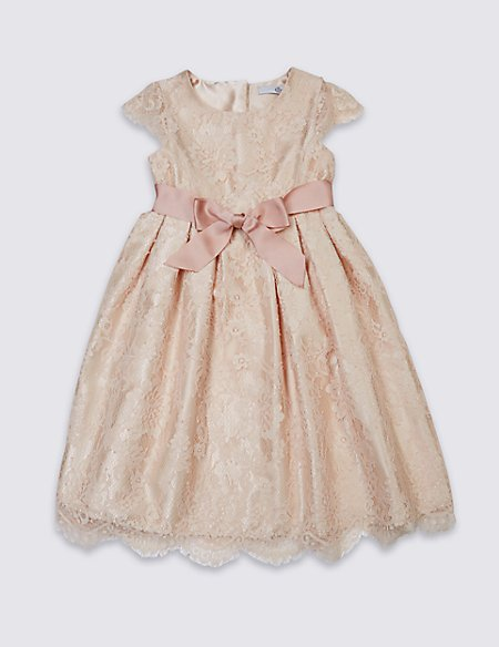 Lace Front Bow Dress (1-14 Years)