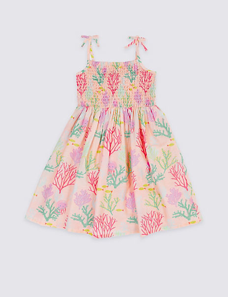 Pure Cotton Shirring Dress (3 Months - 7 Years)