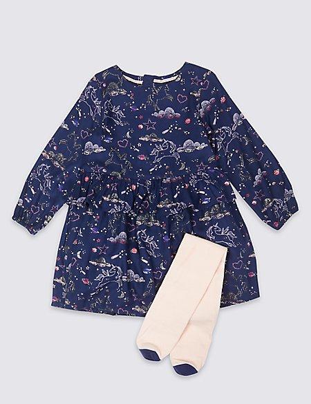 Unicorn Dress & Tights (3 Months - 7 Years)