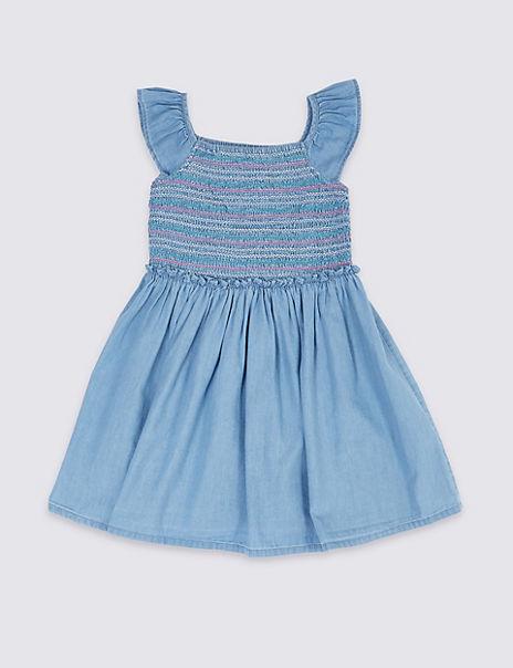Pure Cotton Denim Shirring Dress (3 Months - 7 Years)