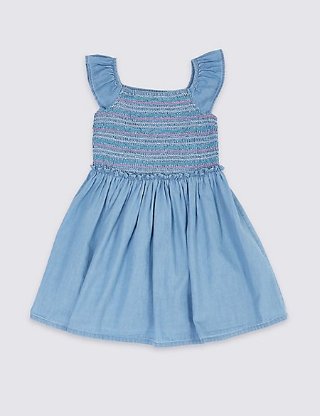 Denim Shirring Dress (3 Months - 7 Years)