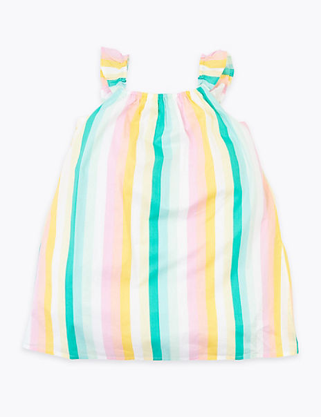 Pure Cotton Rainbow Striped Dress (2-7 Years)