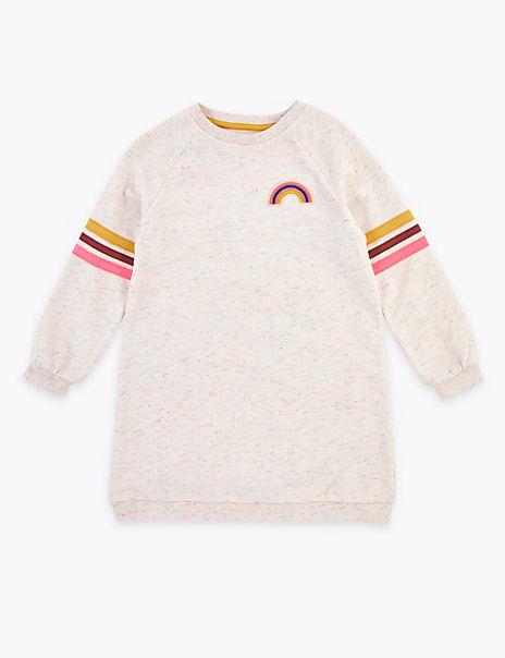 Embroidered Rainbow Badge Sweat Dress (2-7 Years)