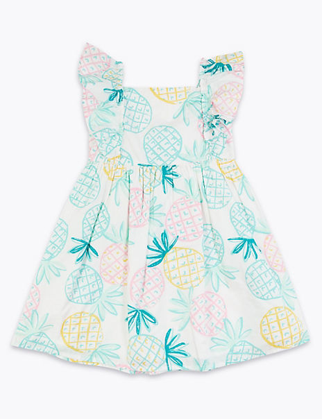 Cotton Pineapple Print Dress (2-7 Years)