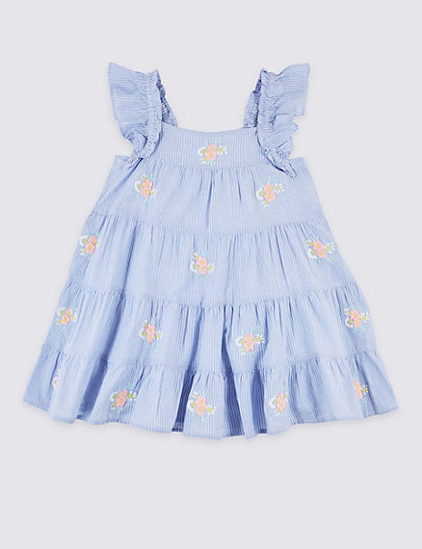 Pure Cotton Embroidered Dress (3 Months - 7 Years)