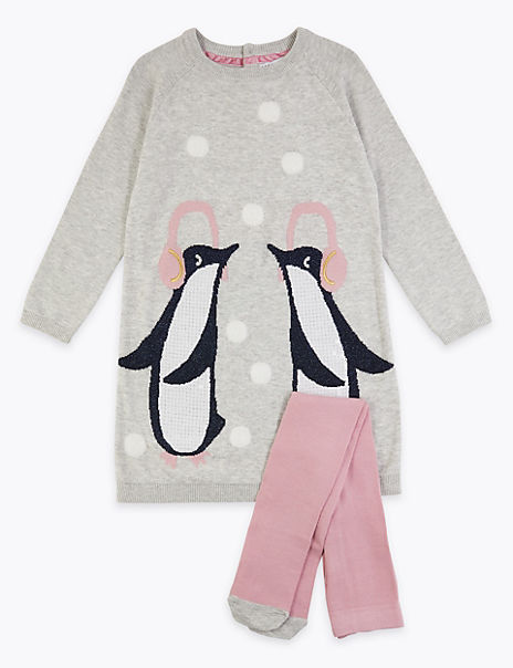 Penguin Print Knitted Dress & Tights (3 Months - 7 Years)