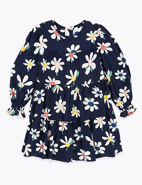 Daisy Print Tiered Long Sleeve Dress (2-7 Years)