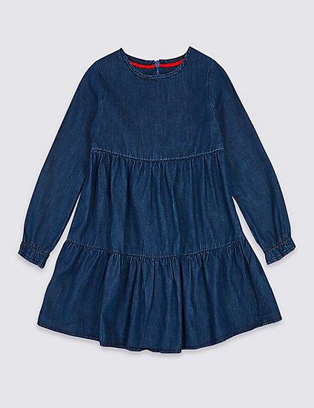 Pure Cotton Denim Dress (3 Months - 7 Years)