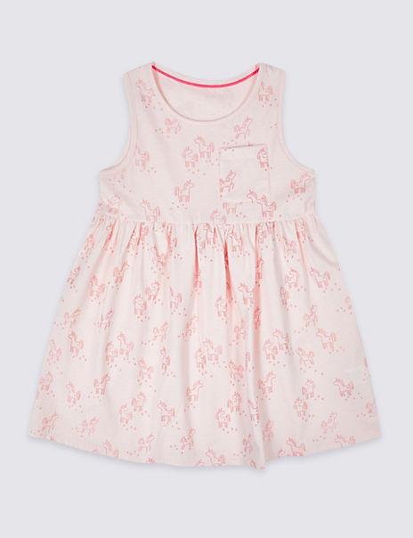 Pure Cotton Unicorn Dress (3 Months - 7 Years)