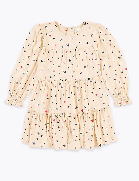 Heart Print Tiered Dress (2-7 Years)