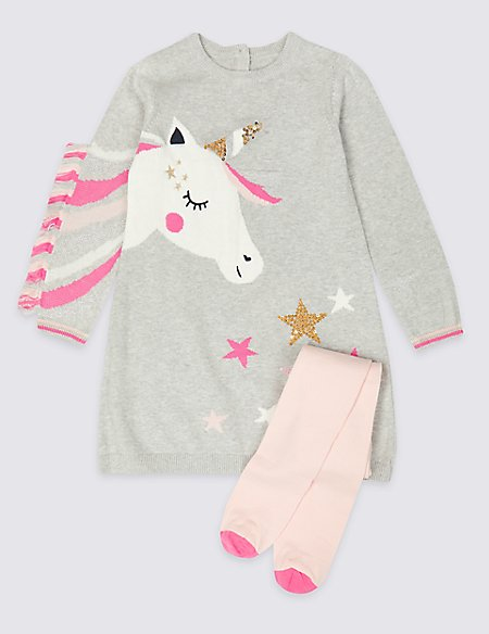 Unicorn Knitted Dress with Tights (3 Months - 7 Years)