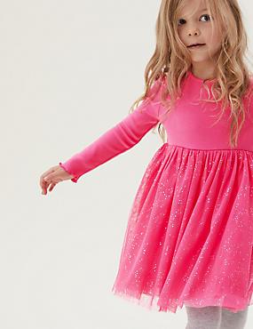 Vestido de algodón de tul con brillos (2-7años)