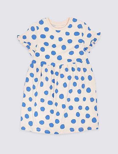 Cotton Spot Print Dress (3 Months - 7 Years)