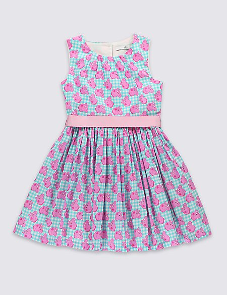 Pure Cotton Peppa Pig™ Prom Dress with Belt (1-7 Years)   M&S