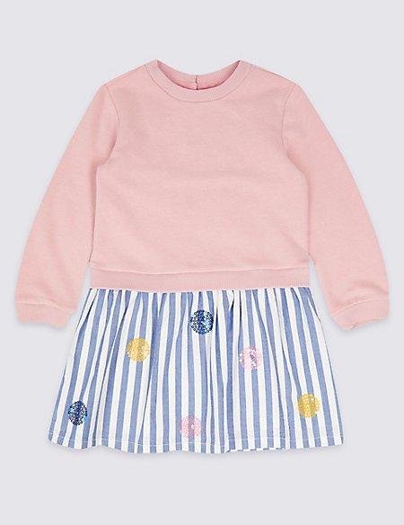 Cotton Rich Sequin Dress (3 Months - 7 Years)