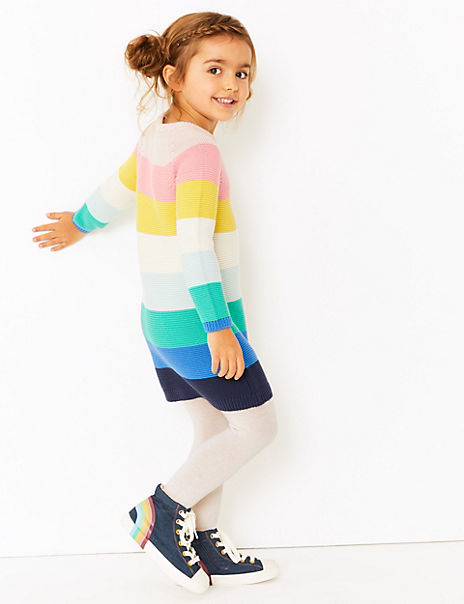 Cotton Rich Striped Knitted Dress (2-7 Years)