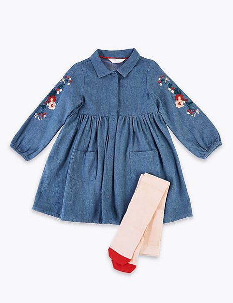 2 Piece Denim Embroidered Dress (3 Months - 7 Years)