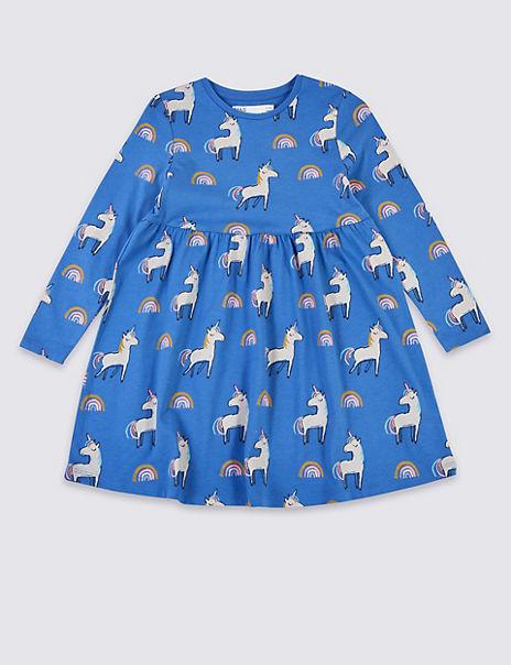 Unicorn And Rainbow Print Dress (3 Months - 7 Years)