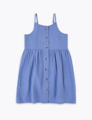 Pure Cotton Button Through Dress (2-7 Yrs)