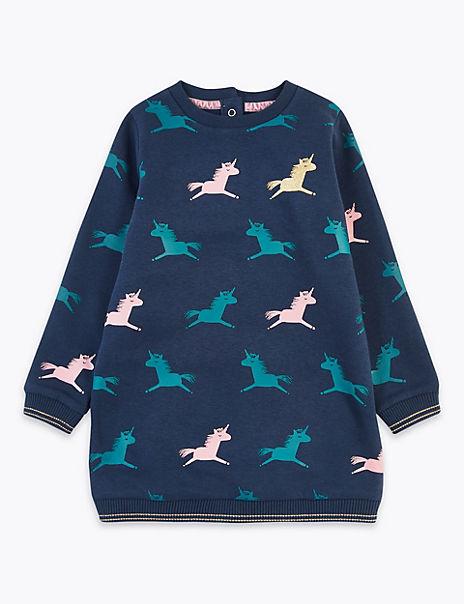 Unicorn Print Sweat Dress (3 Months - 7 Years)