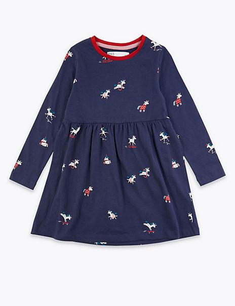 Cotton Rich Unicorn Print Dress (3 Months - 7 Years)