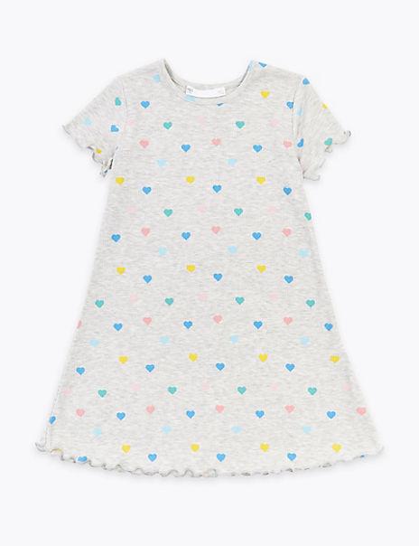 Ribbed Heart Print Dress (2-7 Years)