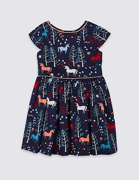 Pure Cotton Unicorn Print Dress (3 Months - 7 Years)