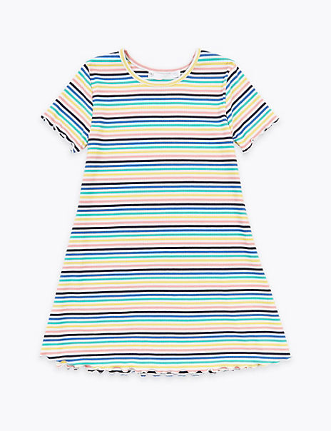 Ribbed Multicolour Striped Dress (2-7 Years)