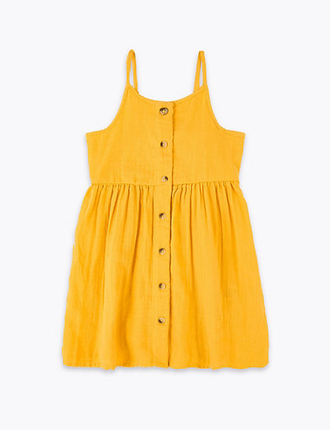 Pure Cotton Button Through Dress (2-7 Years)