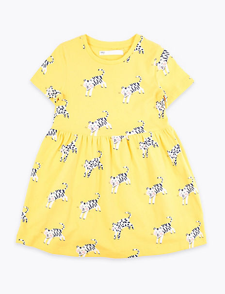 Cotton Tiger Print Dress (2-7 Years)