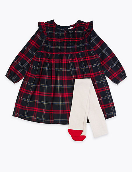 Checked Dress & TIghts Outfit (3 Months - 7 Years)