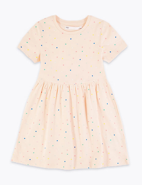 Cotton Spotted Dress (2-7 Years)