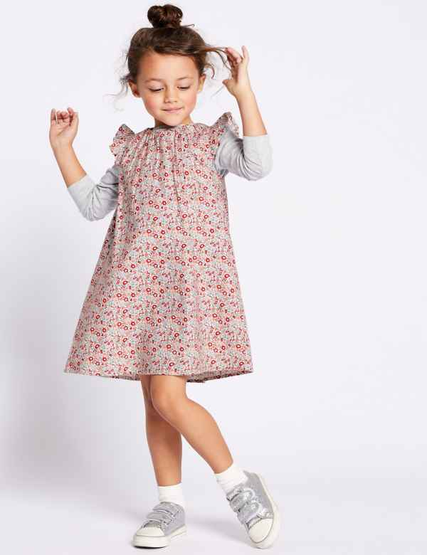 6dd9d133f338 Pure Cotton Ditsy Floral Dress (3 Months - 7 Years)