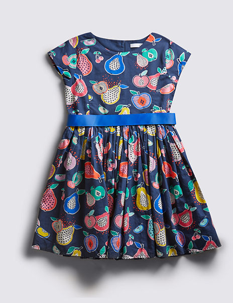 75f4b02c6ee Pure Cotton Fruit Print Prom Dress with Belt (1-7 Years)