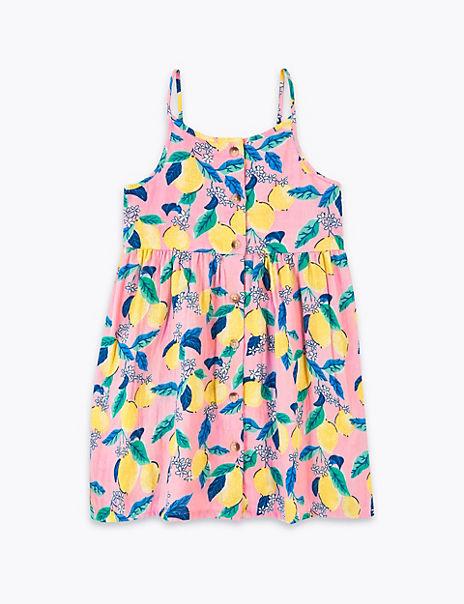 Pure Cotton Button Through Lemon Dress (2-7 Yrs)