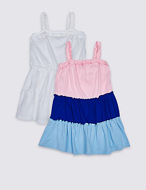 2 Pack Pure Cotton Dress (3 Months - 7 Years) multi Marks and Spencer