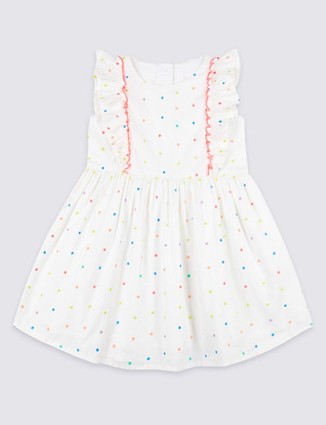Pure Cotton Bow Skater Dress (3 Months - 7 Years)