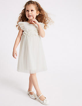 Pleated Flower Applique Dress (1-16 Years)