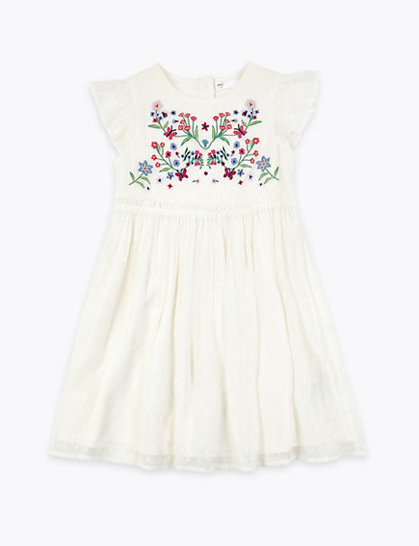 Embroidered Flowers Chiffon Dress (2-7 Years)